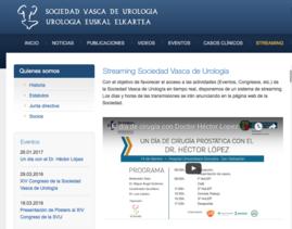 Web de la Sociedad Vasca de Urología anunciando el Streaming de HoLEP