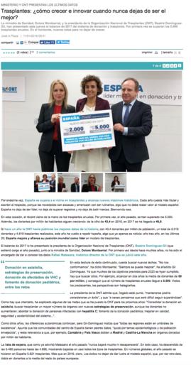 Noticia en Diario Médico sabe la actividad del Trasplante de Órganos en el 2017