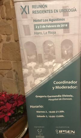 Cartel de la 11ª Reunión MIR Urología de la Sociedad Vasca de Urología. Haro 2018